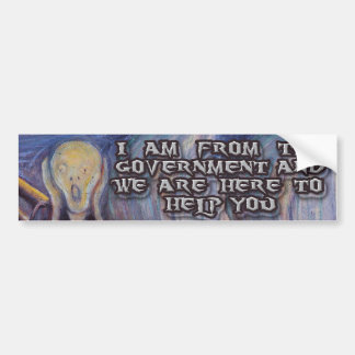 """Munch's """"The Scream""""  and Goverment help! Bumper Sticker"""