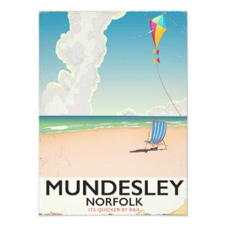 Mundesley Norfolk Beach travel poster Photographic Print