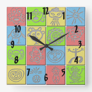 Mundo Taino Square Wall Clock