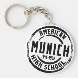 Munich American High School Stamp A004 Basic Round Button Key Ring