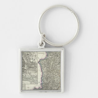 Munich, Augsburg, Bavaria Silver-Colored Square Key Ring