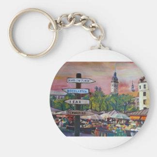 Munich Bavaria Viktualienmarkt With Signposts Keychain