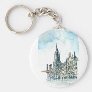 Munich city Hall Marienplatz Basic Round Button Key Ring
