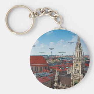 Munich Cityscape Basic Round Button Key Ring