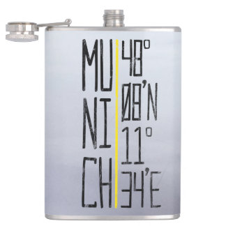 Munich Coordinates Flask, Germany Hip Flask