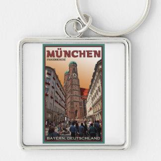 Munich - Frauenkirche Silver-Colored Square Key Ring