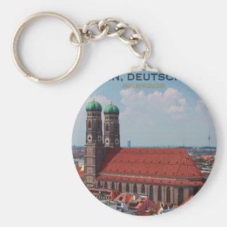 Munich Frauenkirche (Portrait) Basic Round Button Key Ring