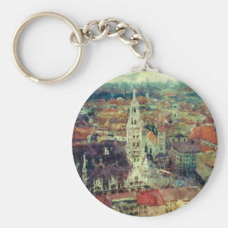 Munich, Germany City View & Church of St. Peter Basic Round Button Key Ring