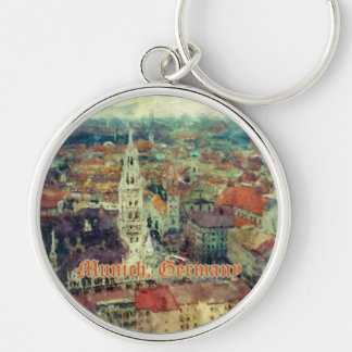 Munich, Germany City View & Church of St. Peter Silver-Colored Round Key Ring