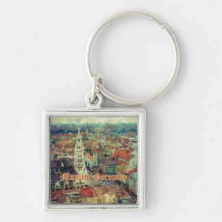 Munich, Germany City View & Church of St. Peter Silver-Colored Square Key Ring