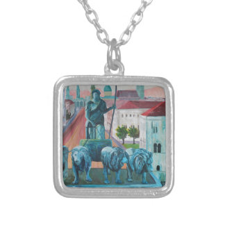 Munich Leopold Str. With Bavaria And Alps Silver Plated Necklace