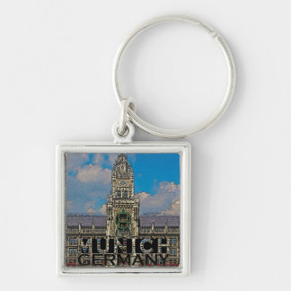 Munich Silver-Colored Square Key Ring
