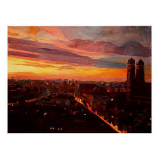 Munich  skyline at dawn poster