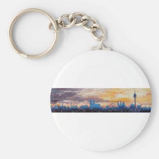Munich Skyline At Dusk With Alps Key Chains