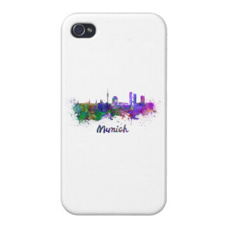 Munich skyline in watercolor iPhone 4 covers