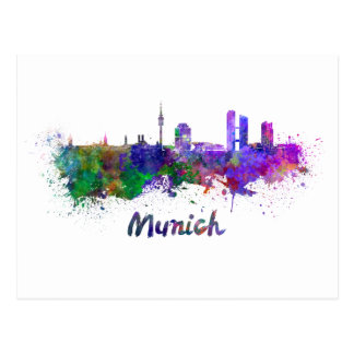 Munich skyline in watercolor postcard