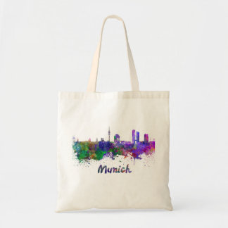 Munich skyline in watercolor tote bag