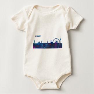 Munich Skyline Silhouette Baby Bodysuit