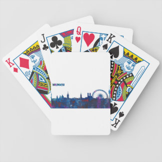 Munich Skyline Silhouette Bicycle Playing Cards