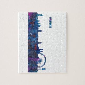 Munich Skyline Silhouette Jigsaw Puzzle
