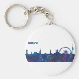 Munich Skyline Silhouette Key Ring