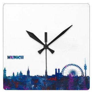 Munich Skyline Silhouette Square Wall Clock