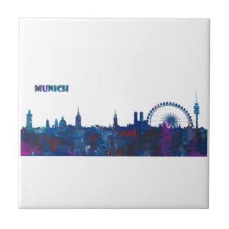 Munich Skyline Silhouette Tile