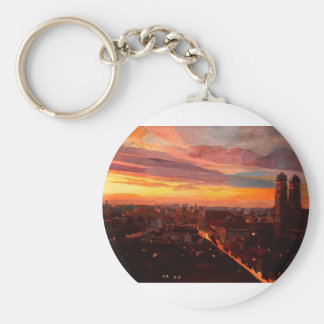 Munich Sunset With Church Of Our Lady Key Chain