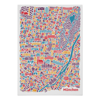 Munich town center map poster