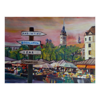 Munich Viktualienmarkt Poster