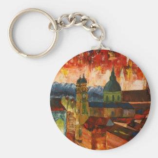Munich With Alps Panorama Key Chain