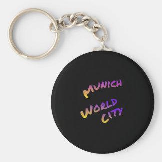 Munich world city, colorful text art basic round button key ring