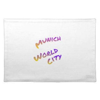 Munich world city, colorful text art placemat