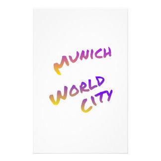 Munich world city, colorful text art stationery