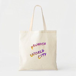 Munich world city, colorful text art tote bag
