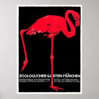 Munich Zoo Garden Flamingo Travel Art Poster