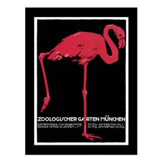 Munich Zoo, German Vintage Travel Poster Postcard