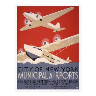 Municipal Airports, 1936 Postcard