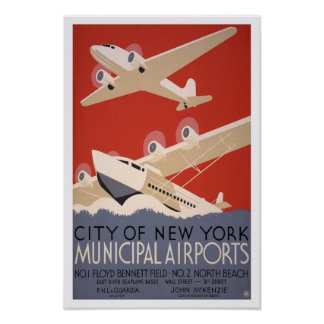 Municipal Airports, 1936. Vintage Air Travel Poster