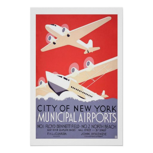 Municipal Airports New York US USA Vintage Travel Posters
