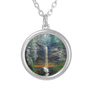 Munising Falls Upper Peninsula Michigan Silver Plated Necklace
