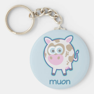 Muon Particle Cow Basic Round Button Key Ring