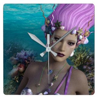 Mural clock Siren Coral