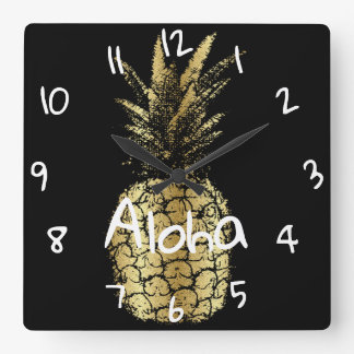 mural clock square Pineapple