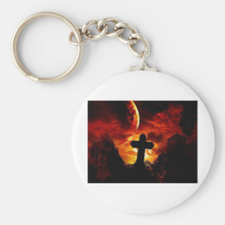 mural_gothic-cross basic round button key ring