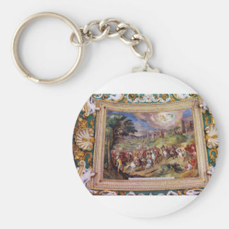 Mural in the Vatican Museum Basic Round Button Key Ring