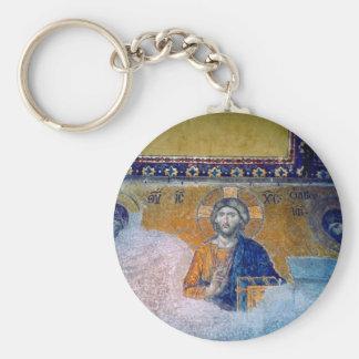 mural jesus basic round button key ring