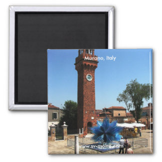 Murano, Italy Clock tower and Glass sculpture Square Magnet