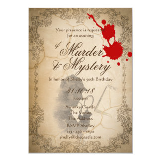 Murder Mystery Invites Vintage Parchment Classy
