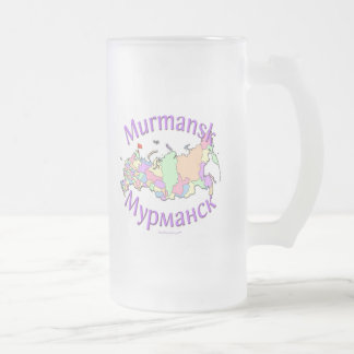 Murmansk Russia Map Frosted Glass Beer Mug